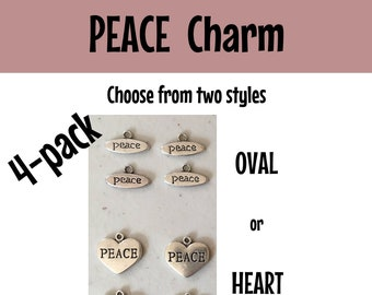 Peace CHARM (4) charm antique pewter - 4 charms per pack oval or heart peace heart charm