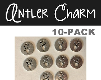 Deer Elk Reindeer Christmas antler charm 10-pack (10) antique pewter CHARM hunting charm necklace charm wildlife nature Christmas jewelry
