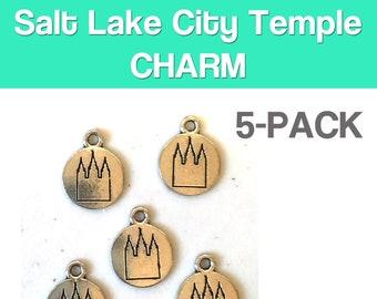 Salt Lake City Temple round, flat CHARM (5) LDS charm antique pewter - 5 charms per pack Latter-Day Saint temple