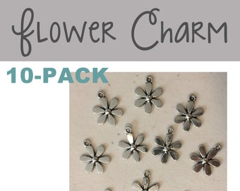 Flower CHARM 10-pack (10) antique pewter flowers meadow nature spring summer garden girl bracelet necklace charm