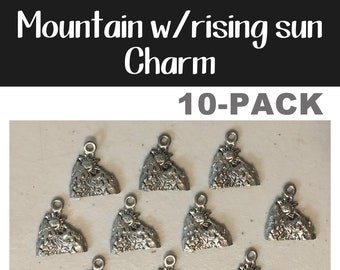 Mountain w/rising sun 10-pack (10) antique pewter CHARM mountains sun river camping summer bracelet necklace charm hiking jewelry