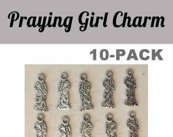 Praying Girl CHARM cute small 10-pack (10) antique pewter praying religious church pray bracelet necklace charm