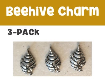 Beehive charm 3-pack (3) antique pewter CHARM flowers bee honey spring summer bracelet necklace charm hiking jewelry