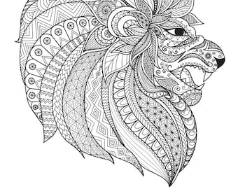 """LION (Ornate) Coloring Page 8.5""""x11"""""""