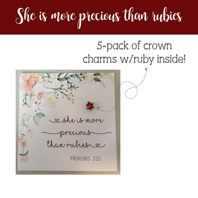 Crown charm with ruby inside 5 She is more precious than image 0