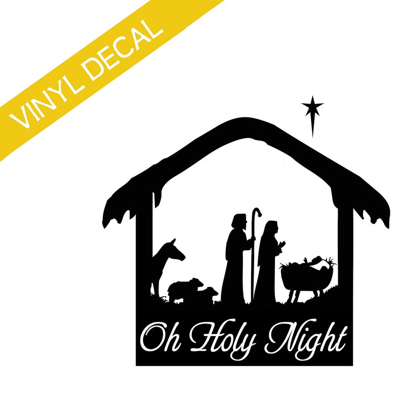Manger Scene with Animals Oh Holy Night w/star Christmas vinyl image 0