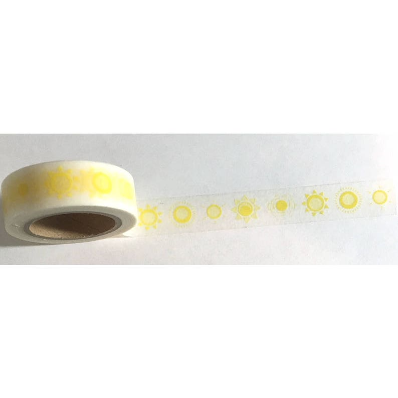 Washi Tape Yellow Suns 33-feet crafting tape image 0