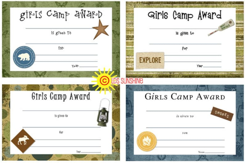 Camp Certificates for awards at Girls Camp image 0