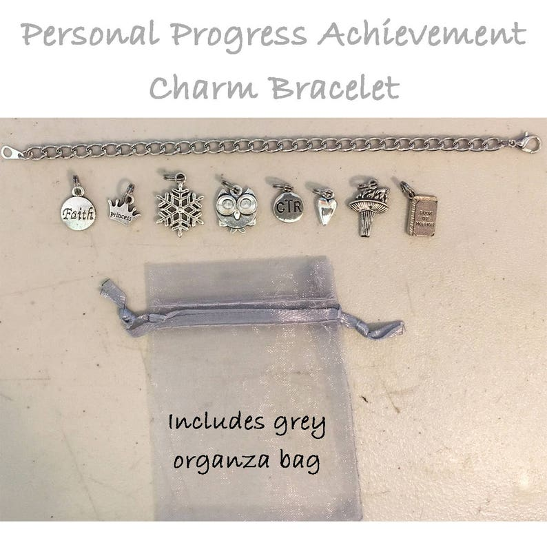 Personal Progress Charm Bracelet  eight 8 charms with image 0