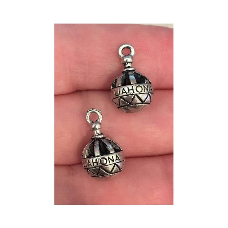 Liahona silver CHARM 2 LDS charm antique pewter  2 charms image 0
