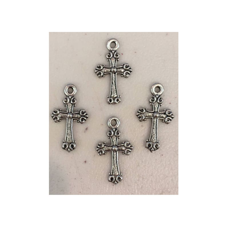 Cross CHARM 4 charms antique pewter  4 charms per pack image 0
