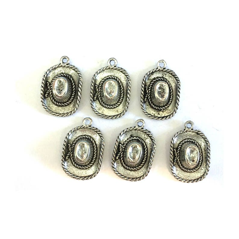 Cowboy Hat CHARM 6 charms antique pewter  6 charms per pack image 0