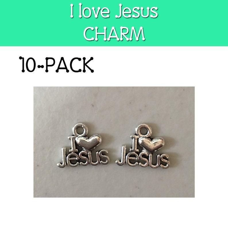 I love Jesus charm pack of ten 10 LDS primary Jesus image 0