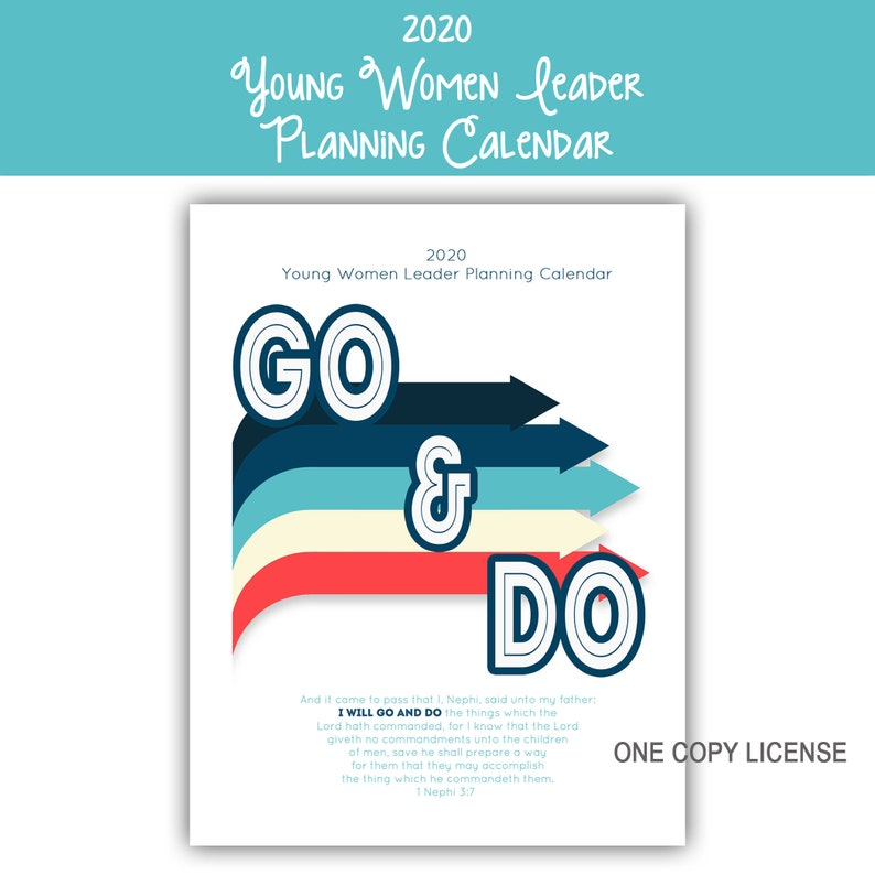 2020 Young Women Leader Planning Calendar 8.5x11  image 0