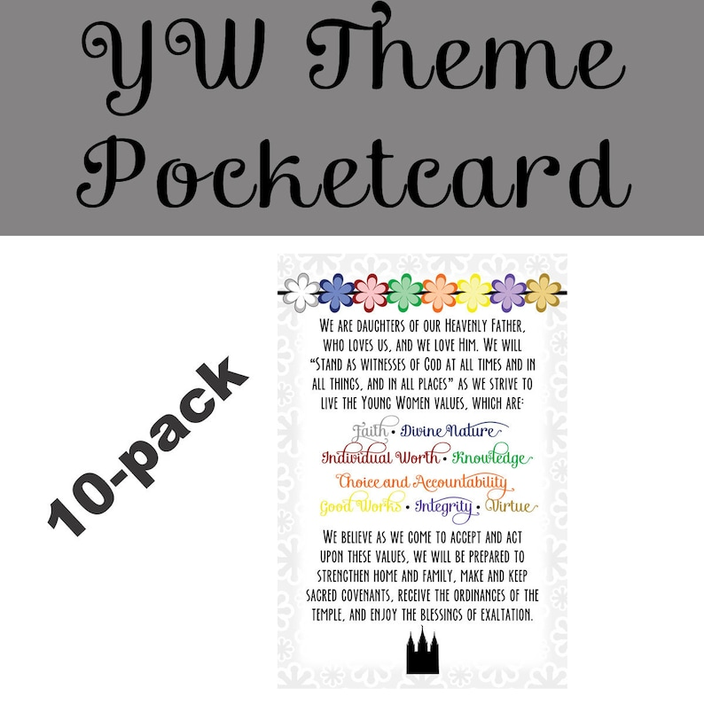 Young Women Theme Pocketcard 10-pack LDS young women YW theme image 0