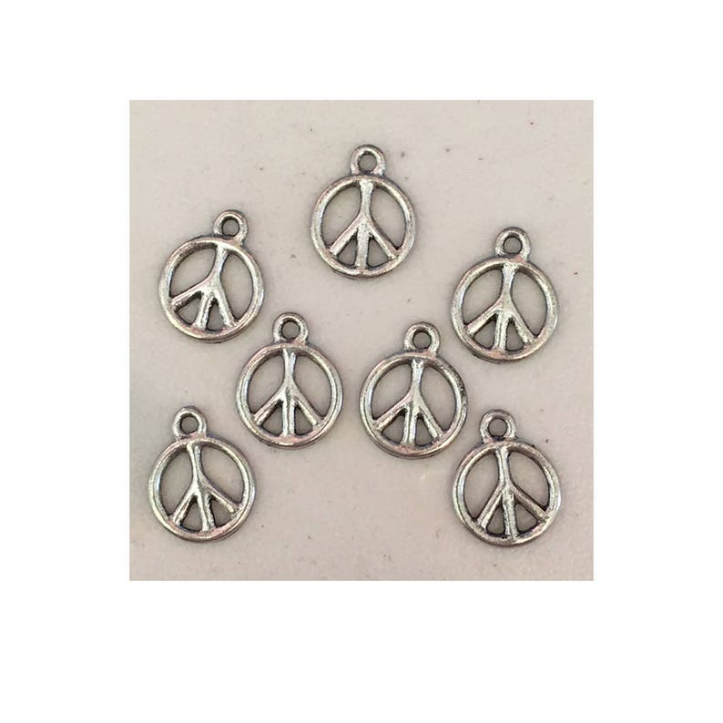 Peace sign CHARM 7 charms antique pewter  7 charms per pack image 0