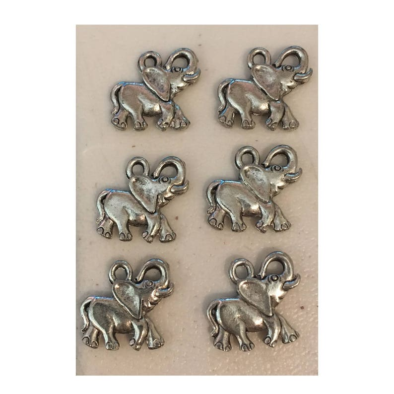 Elephants CHARM 6 charm antique pewter  6 charms per pack image 0