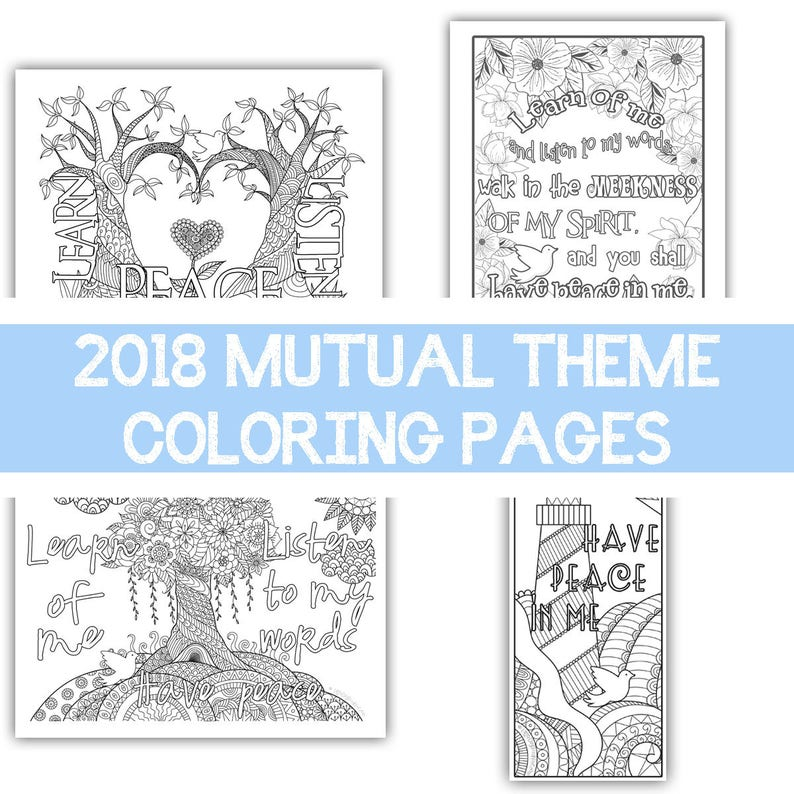 Package of all four  2018 Mutual Theme Coloring Pages image 0