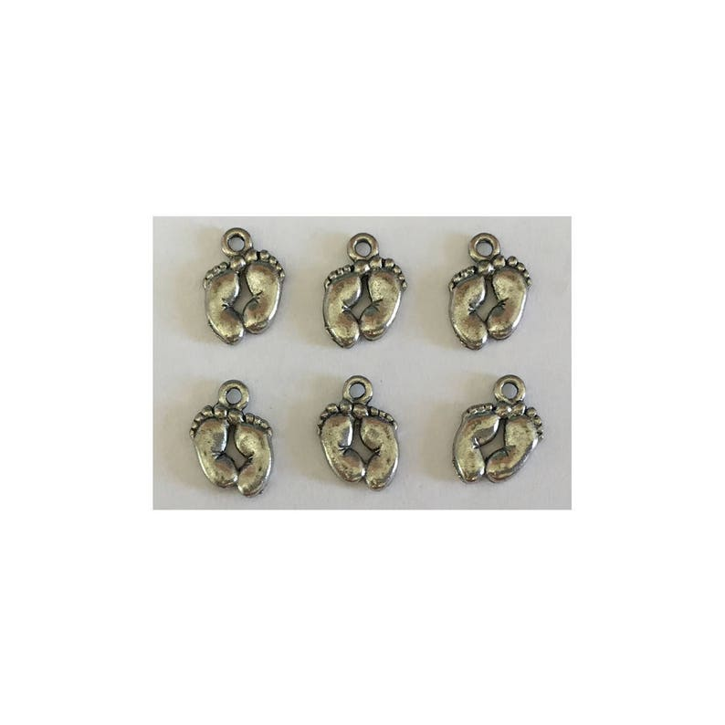 Baby Feet CHARM 6 charms antique pewter  6 charms per pack image 0