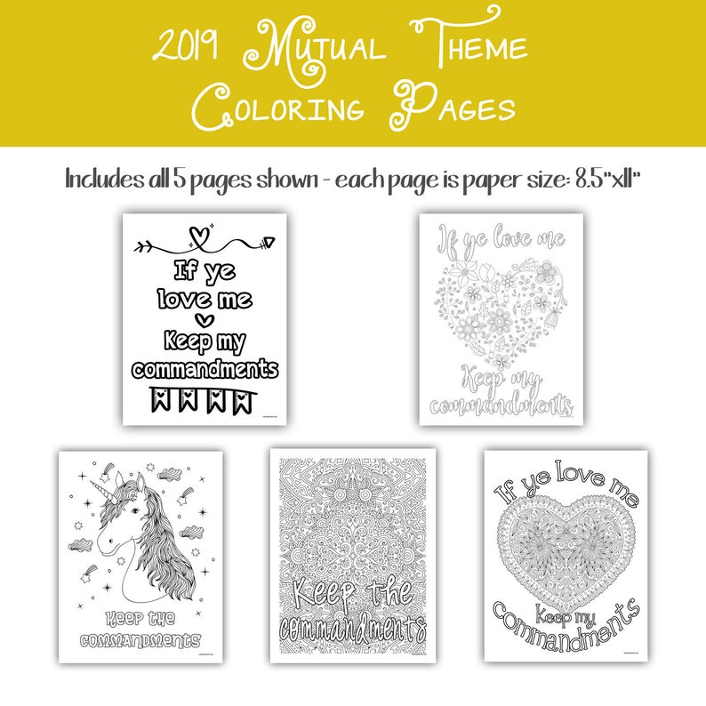 2019 Mutual Theme Coloring Pages 8.5x11  five image 0