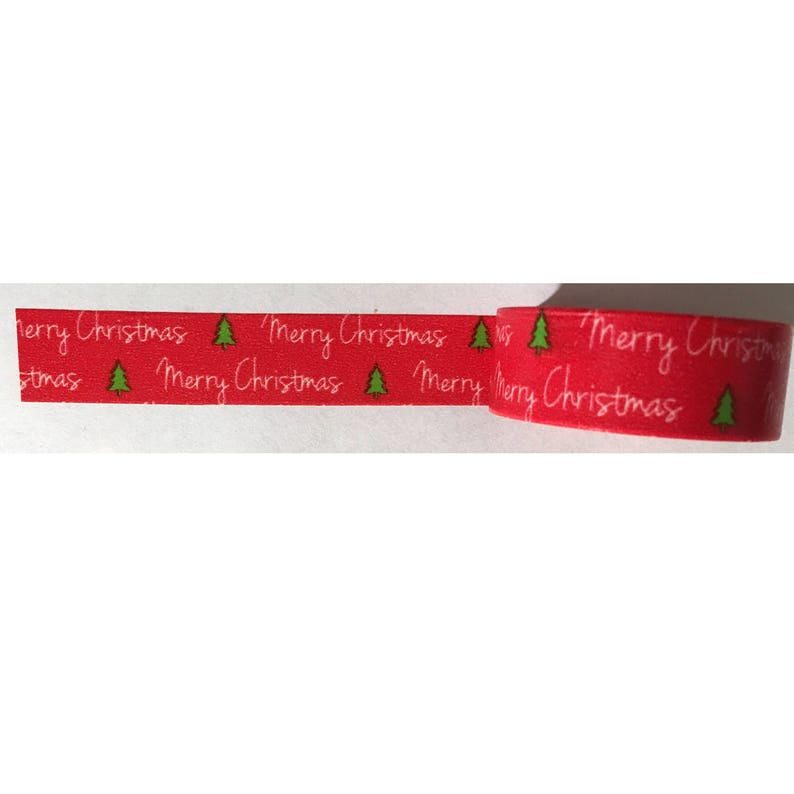 Washi Tape Red Merry Christmas Green Trees 33-feet crafting image 0