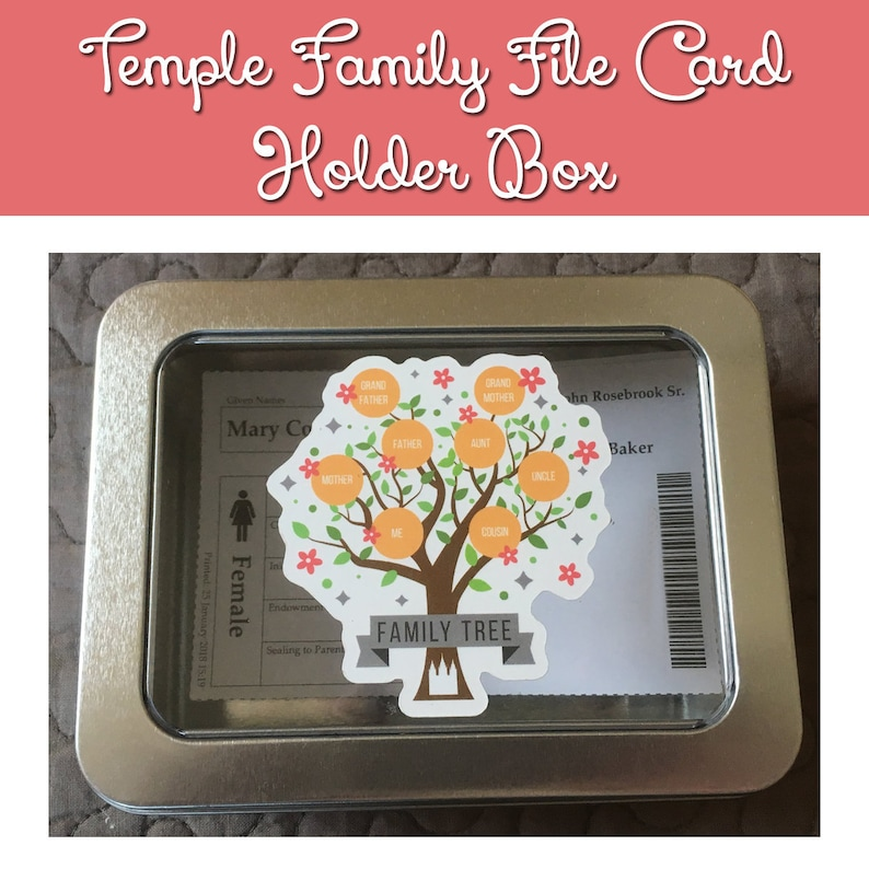 Temple Family File Name Card Holder Box Temple Names Box image 0