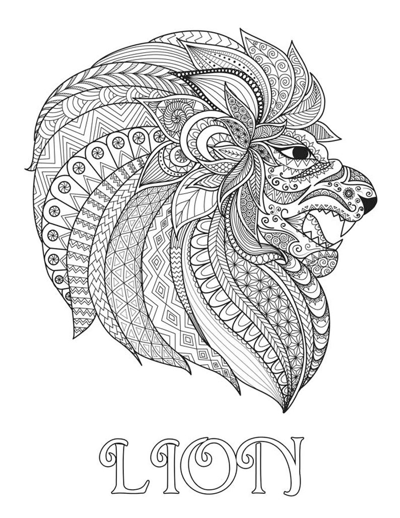 LION Ornate Coloring Page 8.5x11 image 0