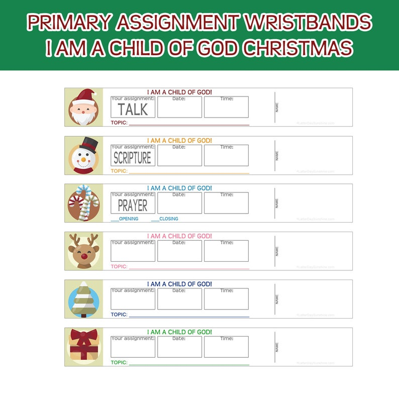 Primary Sharing Time Assignment Wristbands I am a child of God image 0