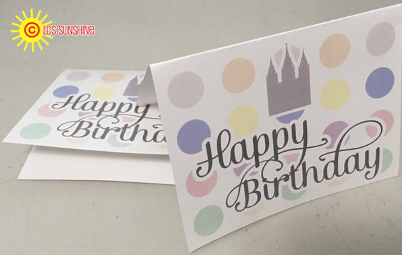 Happy Birthday Note Card LDS Young Women w/Temple image 0