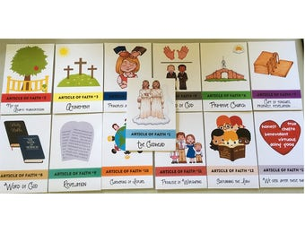 Articles of Faith Flashcards 13 flashcards in set 2 per page LDS card games LDS Primary cards