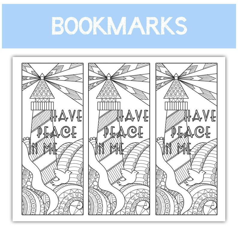 2018 Mutual Theme Coloring Bookmarks  three to an image 0