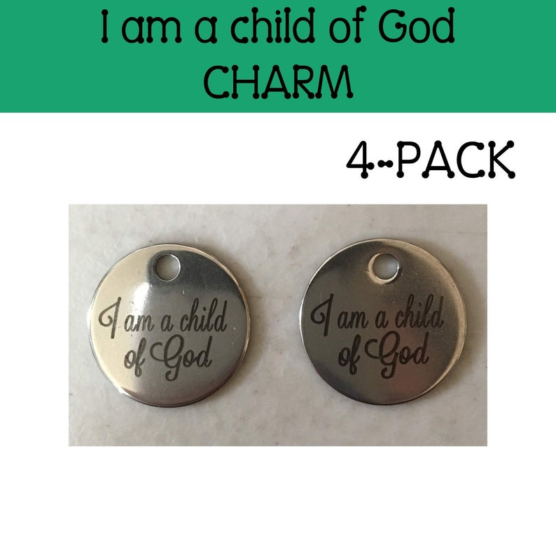 I am a child of God charm round 4-pack LDS primary child of image 0