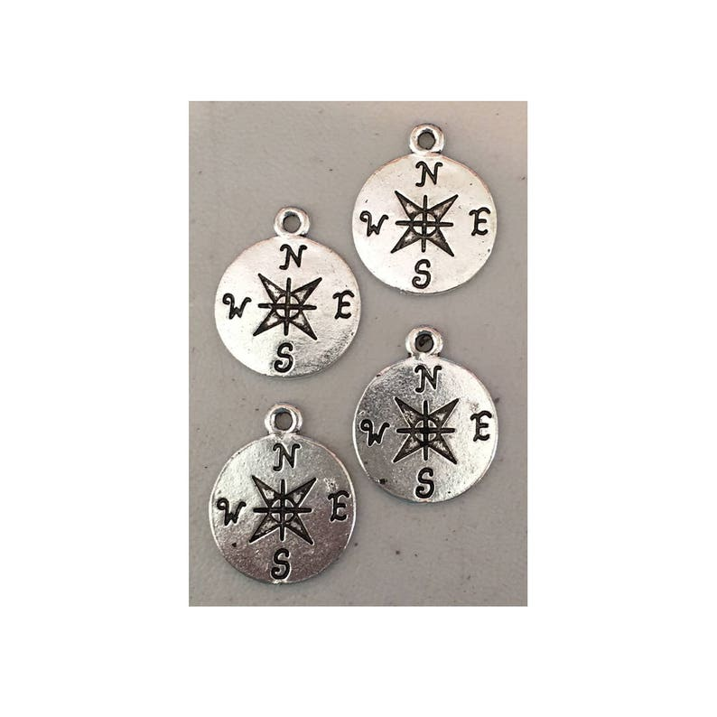 Compass CHARM 4 charm antique pewter  4 charms per pack image 0