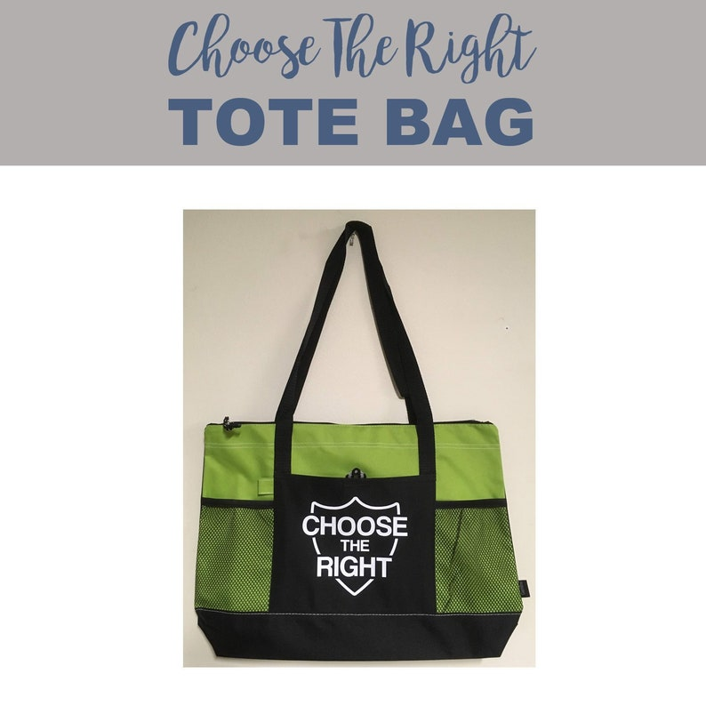 Tote Bag-Choose the Right w/shield green LDS church bag image 0