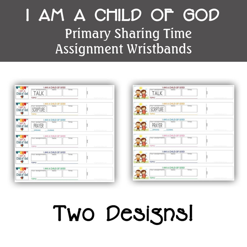 Primary Assignment Wristbands I am a child of God Reminder image 0