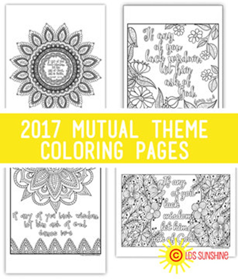 Package of all four  2017 Mutual Theme Coloring Pages image 0