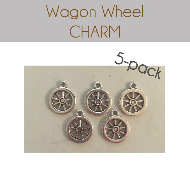 Wagon Wheel CHARM 5 charms antique pewter  5 charms per image 0