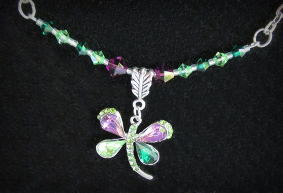 93f3597ad1e3c Dragonfly Necklace, Swarovski Emerald, Peridot & Amethyst Crystals, Fantasy  Jewelry, Crystal Dragonfly Pendant Necklace, Summer Memories,