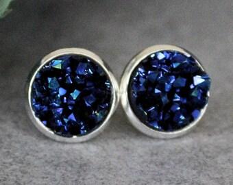Blue Stud Earrings, Navy Blue Earrings, Dark Blue Earrings, Blue Druzy Earrings, Blue Post Earrings, Dark Blue Stud Earring, Faux Druzy