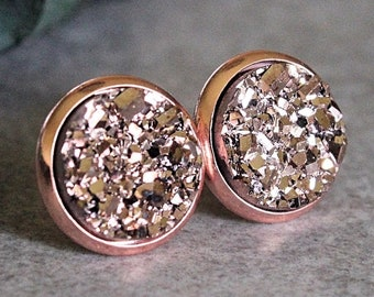 Rose Gold Stud Earrings, Rose Gold Earrings, Rose Gold Druzy Earrings, Rose Gold Bridesmaid Earrings, Rose Gold Posts, Rose Gold Jewelry