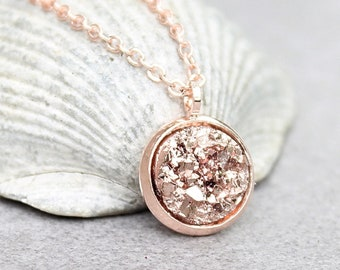 Rose gold necklace etsy rose gold druzy necklace rose gold necklace rose gold bridesmaid necklace bridesmaid gift maid of honor gift rose gold gift girl gift aloadofball Image collections