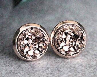 Rose Gold Druzy Earrings, Rose Gold Stud Earrings, Rose Gold Earrings, Rose Gold Post Earring, Rosegold Earrings, Rose Gold Resin Druzy, 8MM