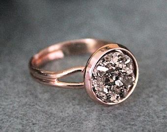 Rose Gold Ring, Rose Gold Druzy Ring, Druzy Ring, Adjustable Ring, Rose Gold Adjustable Ring, Ring for Her, Women's Ring, Gift for Her