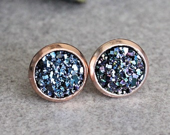 Blue and Rose Gold Earrings, Rose Gold and Blue Earrings, Navy Blue Stud Earrings, Blue Druzy Earrings, Navy Blue Earring, Dark Blue Earring