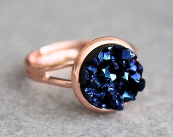 Navy Blue Ring, Rose Gold Ring, Blue Druzy Ring, Blue and Rose Gold Ring, Adjustable Ring, Dark Blue Ring, Blue Bridesmaid Jewelry,Navy Ring