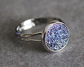 Dark Purple Ring, Dark Purple Druzy Ring, Faux Druzy Ring, Adjustable Ring, Statement Ring, Gift for Her, Girlfriend Gift, Druzy Jewelry