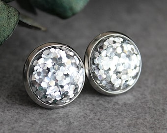 Silver Glitter Earrings, Silver Earrings, Silver Stud Earrings, Large Stud Earrings, Glitter Stud Earrings, Silver Studs, Gift for Her