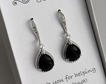 7cb2095759 Black Bridesmaid Earrings, Black Bridesmaid Jewelry, Black Bridesmaid Gift, Black  Earrings, Black Drop Earrings, Black Dangle Earrings