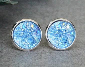 Light Blue Stud Earrings, Blue Stud Earrings, Light Blue Earrings, Light Blue Druzy Studs, Blue Post Earring, Pale Blue Druzy Earrings