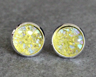 Yellow Stud Earrings, Yellow Earrings, Yellow Druzy Earrings, Yellow Post Earrings, Yellow Bridesmaid Earrings, Yellow Jewelry, Gift For Her